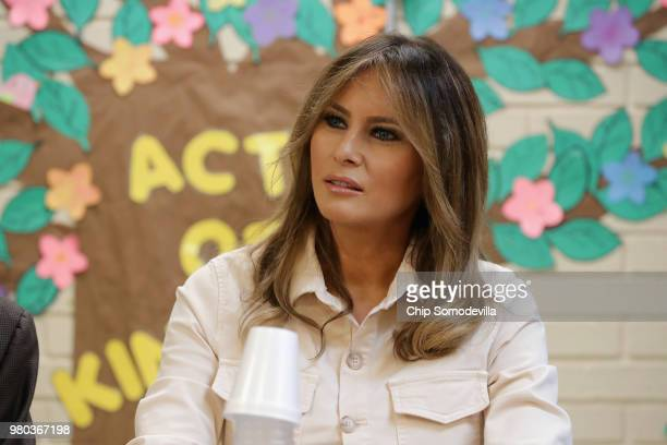 S first lady Melania Trump participates in a round table discussion with doctors and social workers at the Upbring New Hope Childrens Center operated...