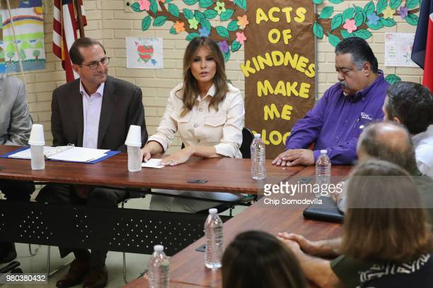 First lady Melania Trump participates in a round table discussion alongside HHS Secretary Alex Azar and program director Rogelio de la Cerda Jr. ,...