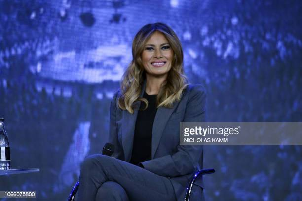 First Lady Melania Trump participates in a town hall meeting on opioids at Liberty University in Lynchburg Virginia on November 28 2018