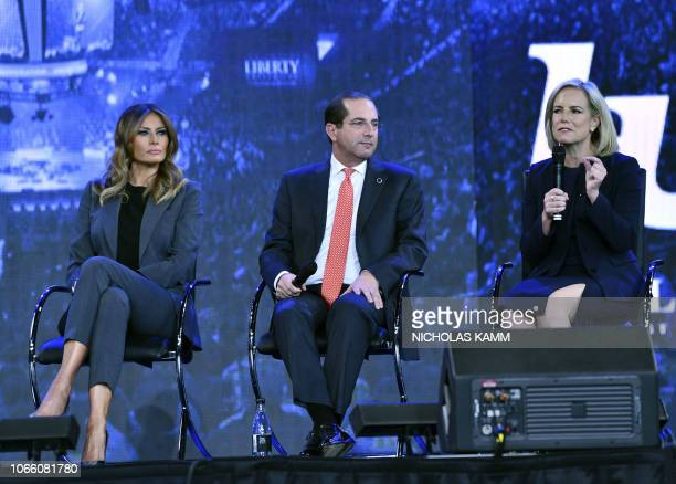 US First Lady Melania Trump participates in a town hall meeting with Department of Homeland Security Secretery Kirsten Nielson and Secretary of...