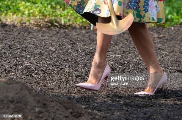 US First Lady Melania Trump participates in a tree planting ceremony of a sapling from the original Eisenhower Oak tree that was removed from the...