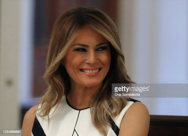 First lady Melania Trump participates in an event with students, teachers and administrators about how to safely re-open schools during the novel...