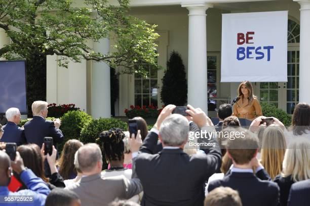 US First Lady Melania Trump pauses while speaking during a 'Be Best' initiative event in the Rose Garden of the White House in Washington DC US on...