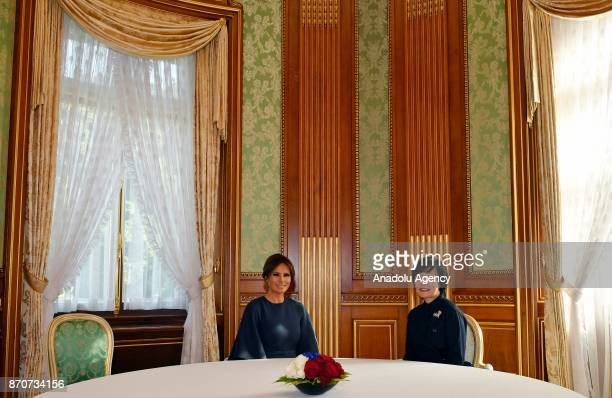 First Lady Melania Trump poses with Japanese First Lady Akie Abe before their lunch at the Akasaka Palace in Tokyo Japan on November 06 2017 Melania...