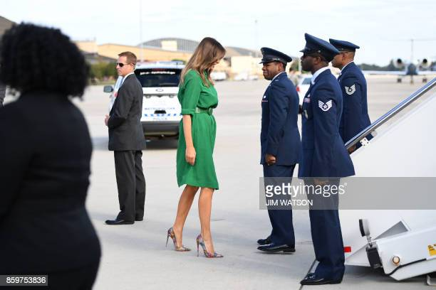 First Lady Melania Trump prepares to board a plane at Joint Base Andrews near Washington on October 10 2017 Melania Trump will fly to West Virginia...