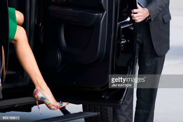 US First Lady Melania Trump prepares to board a plane at Joint Base Andrews next to Washington on October 10 2017 Melania Trump will fly to West...