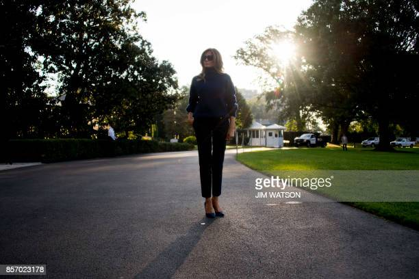 First Lady Melania Trump prepares to board Marine One on the South Lawn of the White House in Washington DC October 3 on her way to Puerto Rico with...