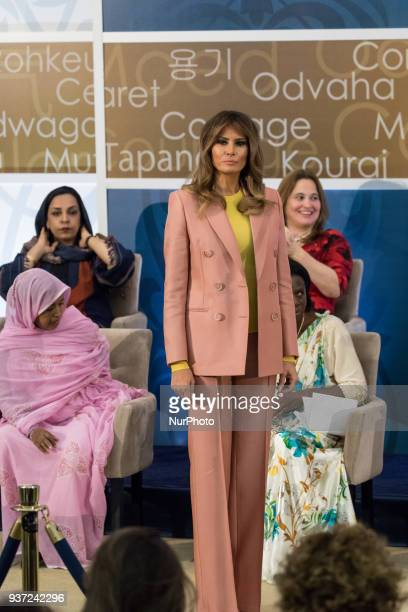 First Lady Melania Trump prepares to hand out awards, at the annual International Women of Courage Awards honoring 10 extraordinary women from around...
