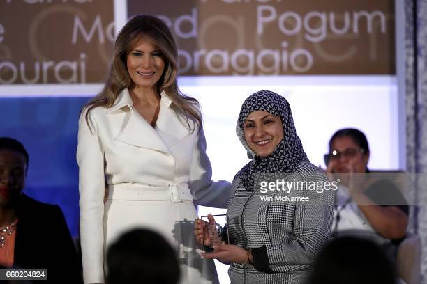 S first lady Melania Trump presents the 2017 Secretary of State's International Women of Courage Award to Fadia NajibThabet who is from Yemen March...