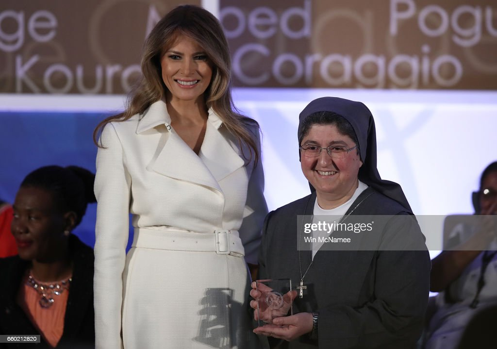 U.S. first lady Melania Trump presents the 2017 Secretary of State's International Women of Courage Award to Sister Carolin Tahhan Fachakh of Syria March 29, 2017 in Washington, DC. The award honors women who have demonstrated exceptional courage, strength, and leadership in acting to improve the lives of others.