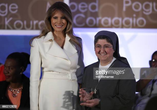 S first lady Melania Trump presents the 2017 Secretary of State's International Women of Courage Award to Sister Carolin Tahhan Fachakh of Syria...