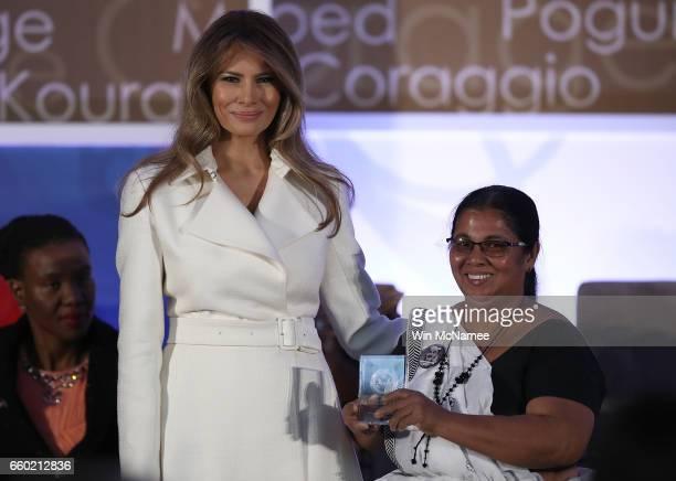 S first lady Melania Trump presents the 2017 Secretary of State's International Women of Courage Award to Sandya Eknelgoda of Sri Lanka March 29 2017...