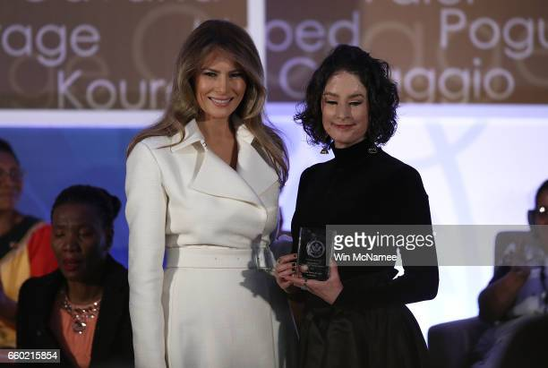 S first lady Melania Trump presents the 2017 Secretary of State's International Women of Courage Award to Natalia Ponce de Leon of Colombia March 29...