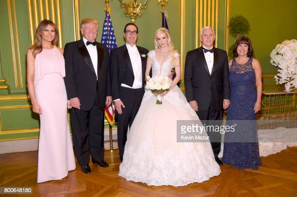 First Lady Melania Trump, President Donald Trump, Secretary of the Treasury Steven Mnuchin, Louise Linton, Vice President Mike Pence, and Second Lady...