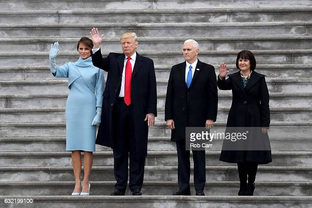 First Lady Melania Trump, President Donald Trump, Vice President Mike Pence and Karen Pence wave goodbye to Barack and Michelle Obama on the West...