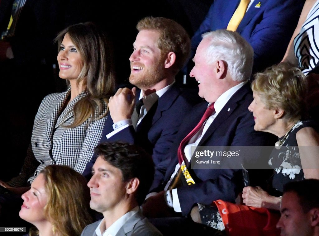 U.S. First Lady Melania Trump, Prince Harry, (L-R Bottom) Sophie Grégoire Trudeau and Canadian Prime Minister Justin Trudeau attend the opening ceremony on day 1 of the Invictus Games Toronto 2017 at Air Canada Centre on September 23, 2017 in Toronto, Canada. The Games use the power of sport to inspire recovery, support rehabilitation and generate a wider understanding and respect for the Armed Forces