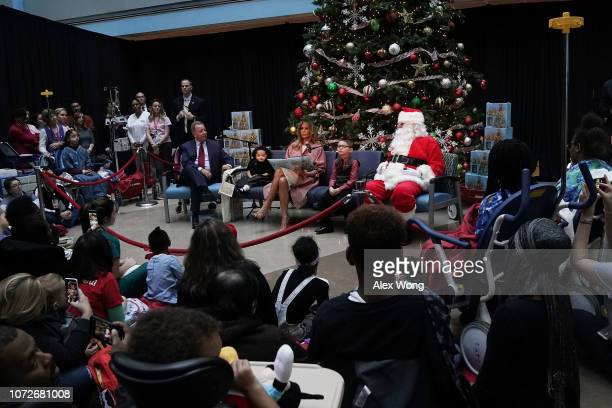 S first lady Melania Trump reads the story 'Oliver the Ornament' to young patients during a visit to the Children's National Hospital December 13...