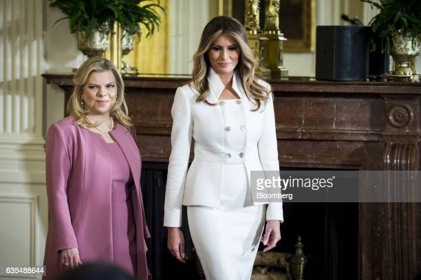 US First Lady Melania Trump right arrives with Sara Netanyahu wife of Israeli Prime Minister Benjamin Netanyahu before a news conference with Trump...