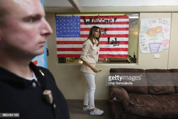 S first lady Melania Trump signs a welcome poster made for her after a round table discussion with doctors and social workers at the Upbring New Hope...