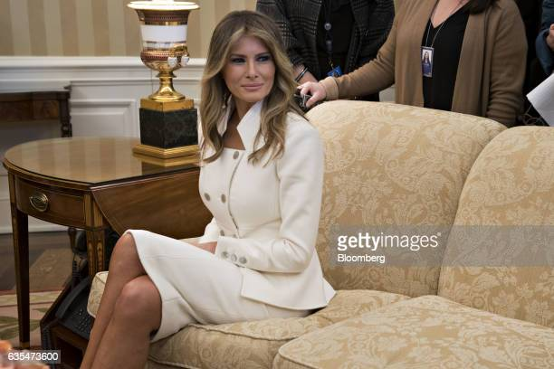US First Lady Melania Trump sits in the Oval Office of the White House during a meeting with President Donald Trump and Benjamin Netanyahu Israel's...