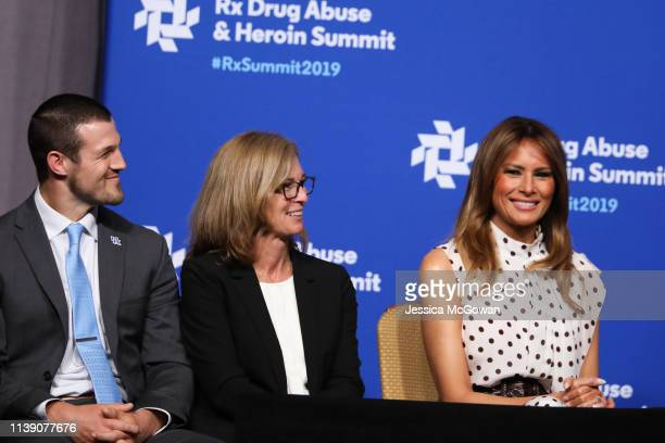 First lady Melania Trump sits on stage after giving a speech at the Rx Drug Abuse Heroin Summit on April 24 2019 in Atlanta Georgia President Trump...