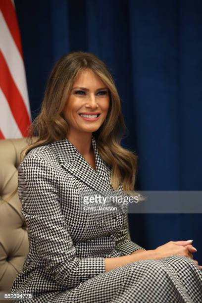 First lady Melania Trump smiles as she meets with Prince Harry for the first time while leading the USA team delegation ahead of the Invictus Games...