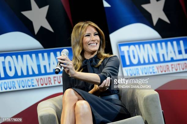 US First Lady Melania Trump smiles during a town hall event about opioid abuse on March 5 2019 in Las Vegas Nevada