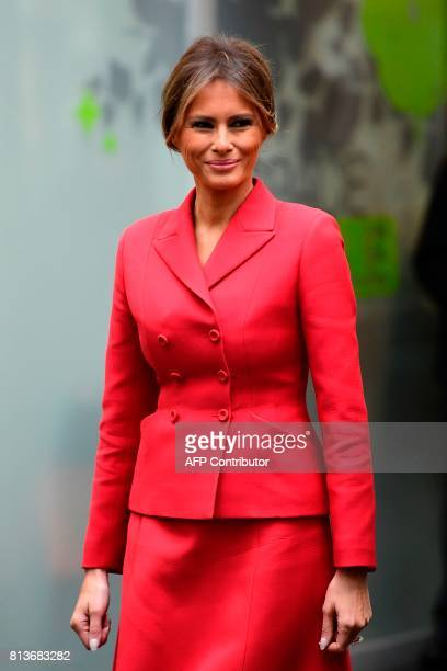 US First Lady Melania Trump smiles during a visit to the Necker Hospital in Paris on July 13 2017 US President arrived in Paris for a presidential...