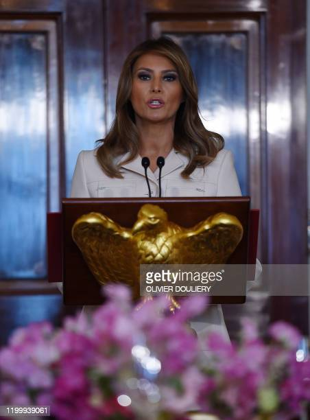 First Lady Melania Trump speaks at a luncheon for governors spouses in the Blue Room at the White House, on February 10, 2020 in Washington, DC.