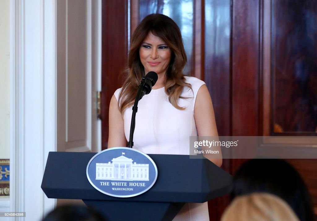 First Lady Melania Trump speaks at a luncheon for governors spouses in the Blue Room at the White House, on February 26, 2018 in Washington, DC. The nation's governors are in town for their annual meeting with the President.