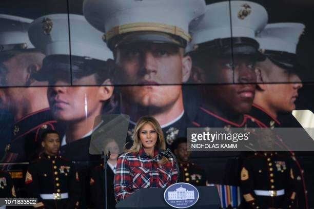 US First Lady Melania Trump speaks at a Toys for Tots event at Joint Base nacostiaBolling in Washington DC on December 11 2018 Toys for Tots is a...