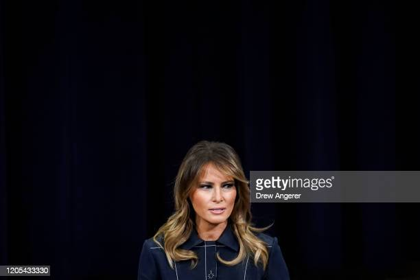 First Lady Melania Trump speaks at the National Opioid Summit at the US Department of Justice on March 6 2020 in Washington DC More than 400000...