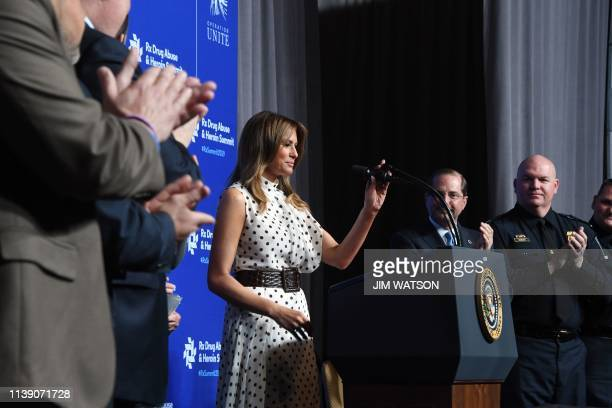 US First Lady Melania Trump speaks at the Rx Drug Abuse and Heroin Summit on April 24 in Atlanta Georgia