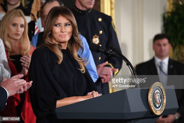 First Lady Melania Trump speaks before US President Donald Trump delivers remarks on combatting drug demand and the opioid crisis on October 26 2017...
