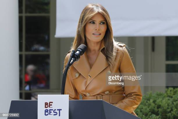 US First Lady Melania Trump speaks during a 'Be Best' initiative event in the Rose Garden of the White House in Washington DC US on Monday May 7 2018...