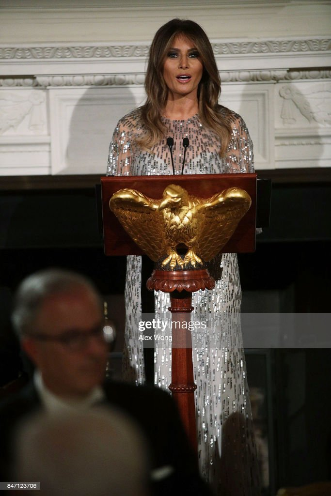 U.S. first lady Melania Trump speaks during a reception at the State Dining Room of the White House September 14, 2017 in Washington, DC. President Trump and the first lady hosted a reception for the White House Historical Association.