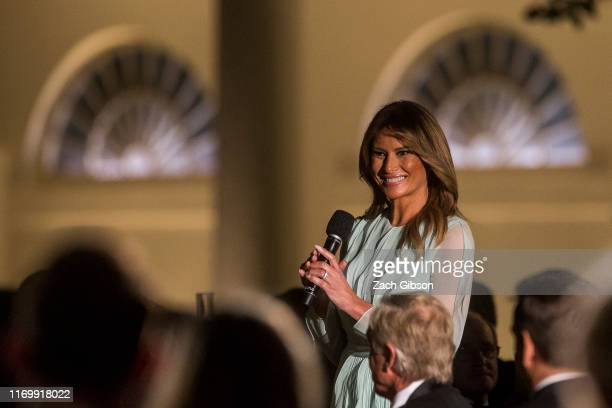 First Lady Melania Trump speaks during a state dinner honoring Australian Prime Minister Scott Morrison and Australian First Lady Jennifer Morrison...