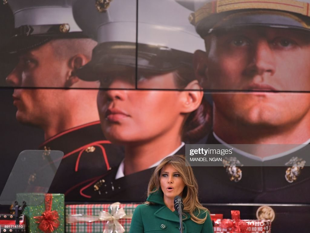 US First Lady Melania Trump speaks during a visit to Joint Base Anacostia-Bolling in Washington, DC on December 13, 2017. NGAN