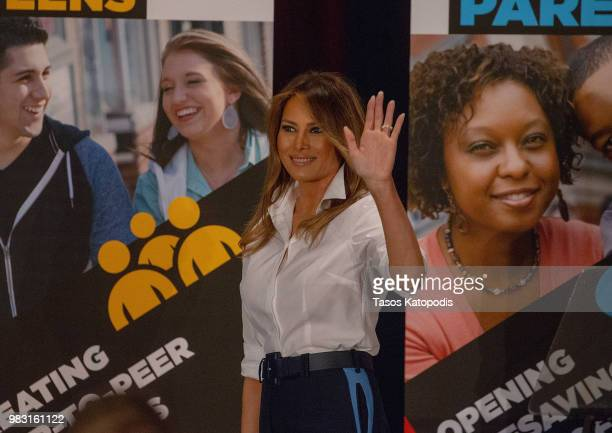 First Lady Melania Trump speaks during the national conference of Students Against Destructive Decisions on June 24 2018 in Tysons Corner Virginia