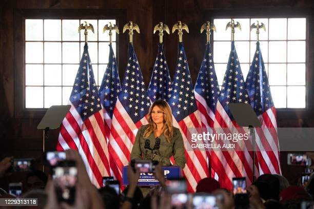 First Lady Melania Trump speaks to President Trump's supporters at a Make America Great Again event in Atglen, Pennsylvania, on October 27, 2020.
