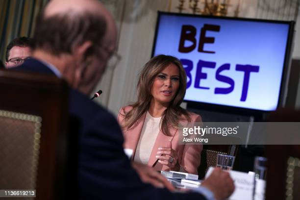 S first lady Melania Trump speaks to representatives of an Interagency Working Group on Youth Programs during a State Dining Room event at the White...