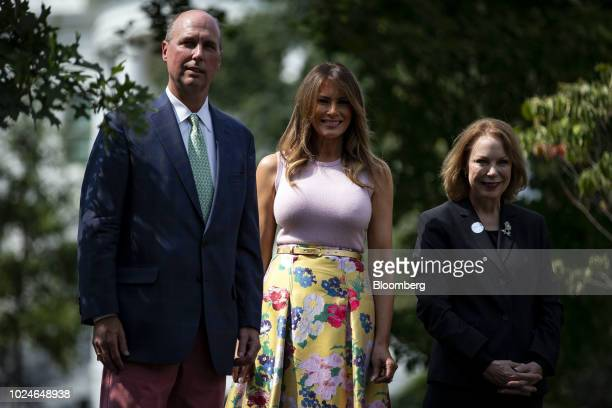 US First lady Melania Trump stands for a photograph with Richard Emory Gatchell Jr fifth generation grandson of former President James Monroe left...