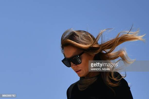 First Lady Melania Trump steps off a plane upon arrival at Phoenix Skyharbor International Airport in Phoenix, Arizona on June 28, 2018.