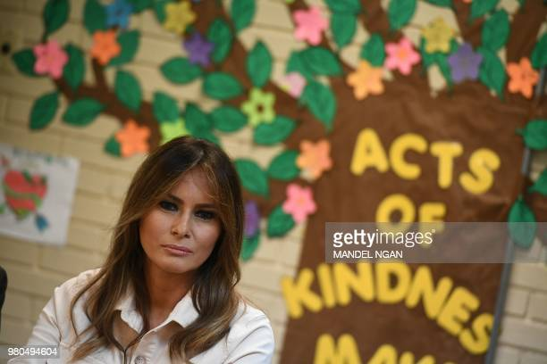 First Lady Melania Trump takes part in a roundtable discussion at Luthern Social Services of the South's Upbring New Hope Children Center in McAllen...