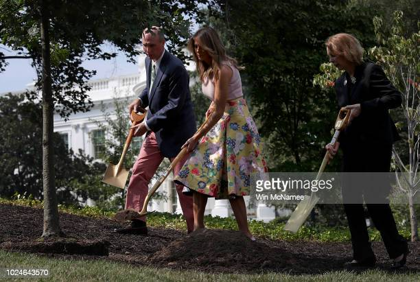 S first lady Melania Trump takes part in a tree planting ceremony on the south grounds of the White House August 27 2018 in Washington DC The tree...