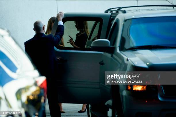 US first lady Melania Trump talks to Oleksandra NikolayenkoRuffin wife of Treasure Island casino owner Phil Ruffin while leaving after a town hall...