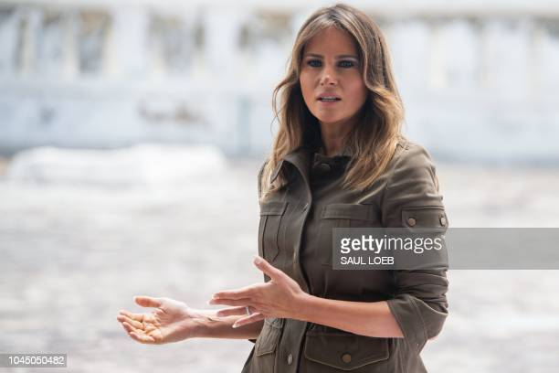 US First Lady Melania Trump tours the Cape Coast Castle a former slave trading fort in Cape Coast Ghana October 3 2018 US First Lady Melania Trump is...