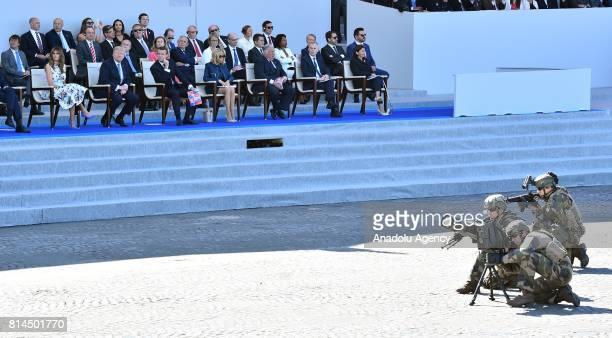 US First Lady Melania Trump US President Donald Trump French President Emmanuel Macron French First Lady Brigitte Macron French Senate President...