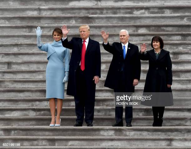 First Lady Melania Trump US President Donald Trump Vice President Mike Pence and his wife Karen wave goodbye to former President Barack Obama's...