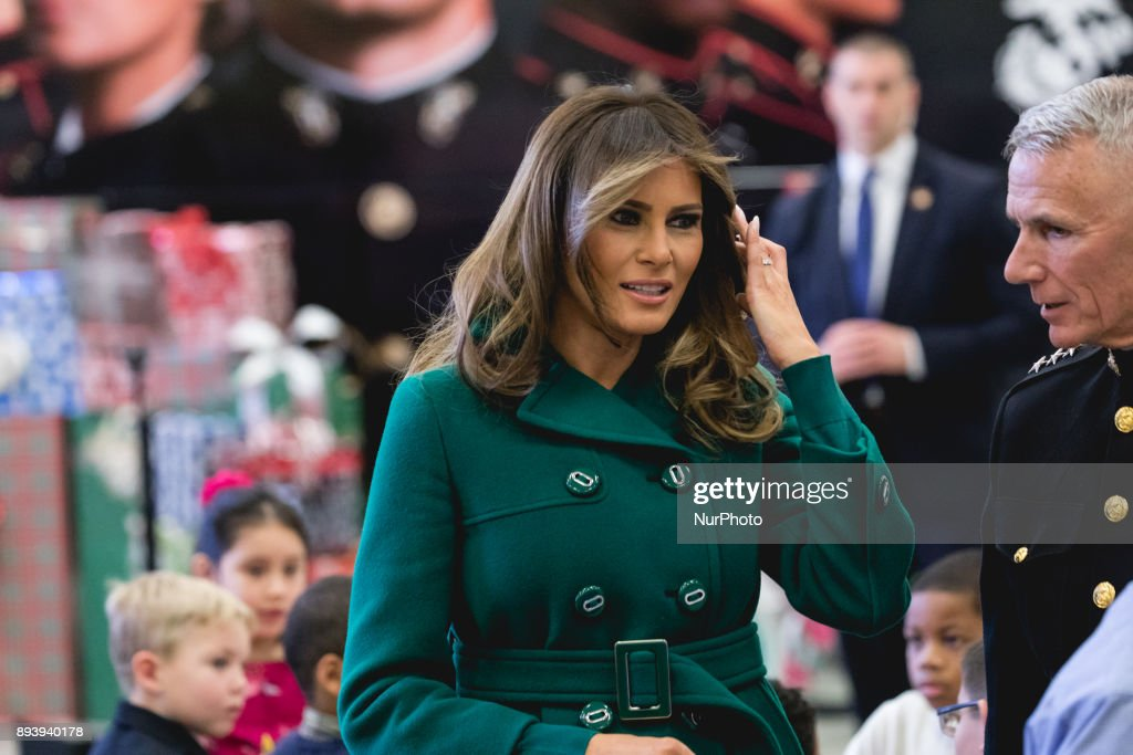 Melania Trump Helps Box Toys For Marine Corps Toys For Tots Campaign : News Photo